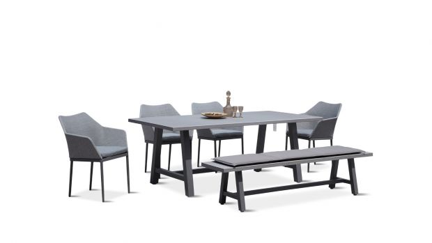 Sensational Commons Trestle 6 Piece Bench Dining Set Gmtry Best Dining Table And Chair Ideas Images Gmtryco